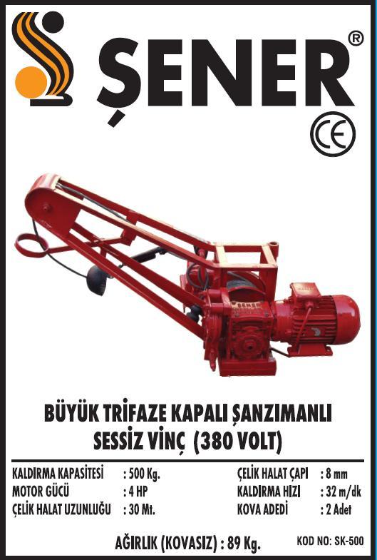 SK-500 BÜYÜK SESSIZ INSAAT VINCI - 380 VOLT.